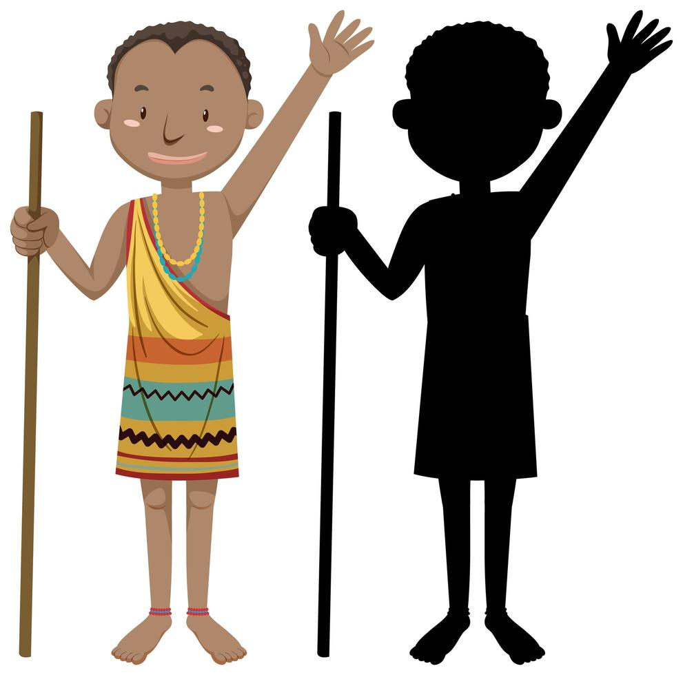 personagem da tribo africana com silhueta vetor