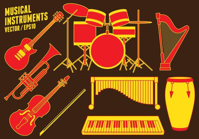 Ícones de instrumentos musicais vetor