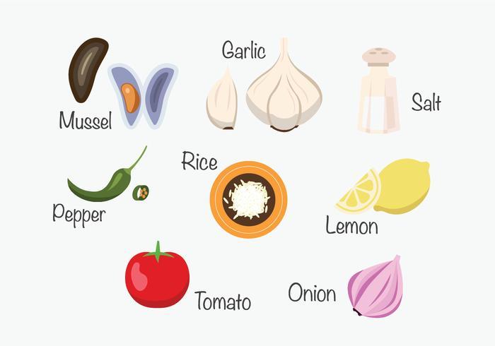 Ingredientes de Paella vetor