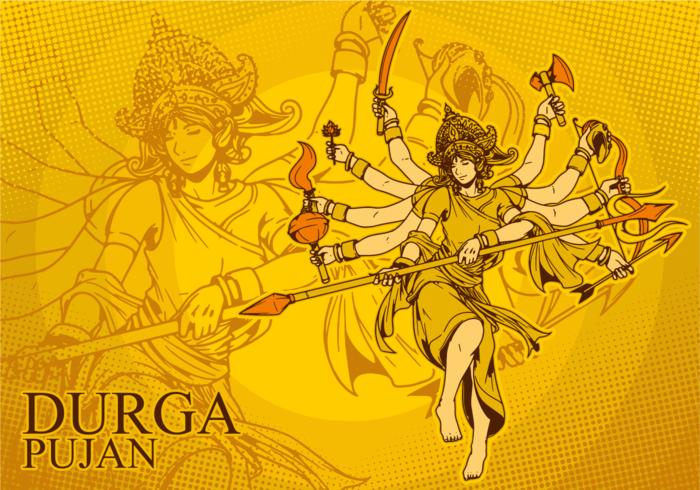 Ilustração da deusa Durga vetor