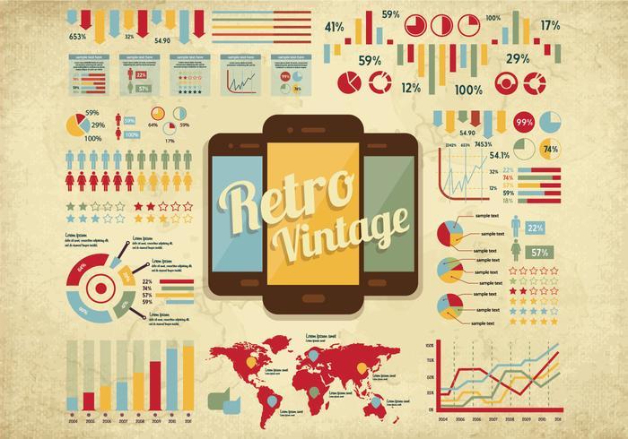 Vector retro estatísticas do vintage