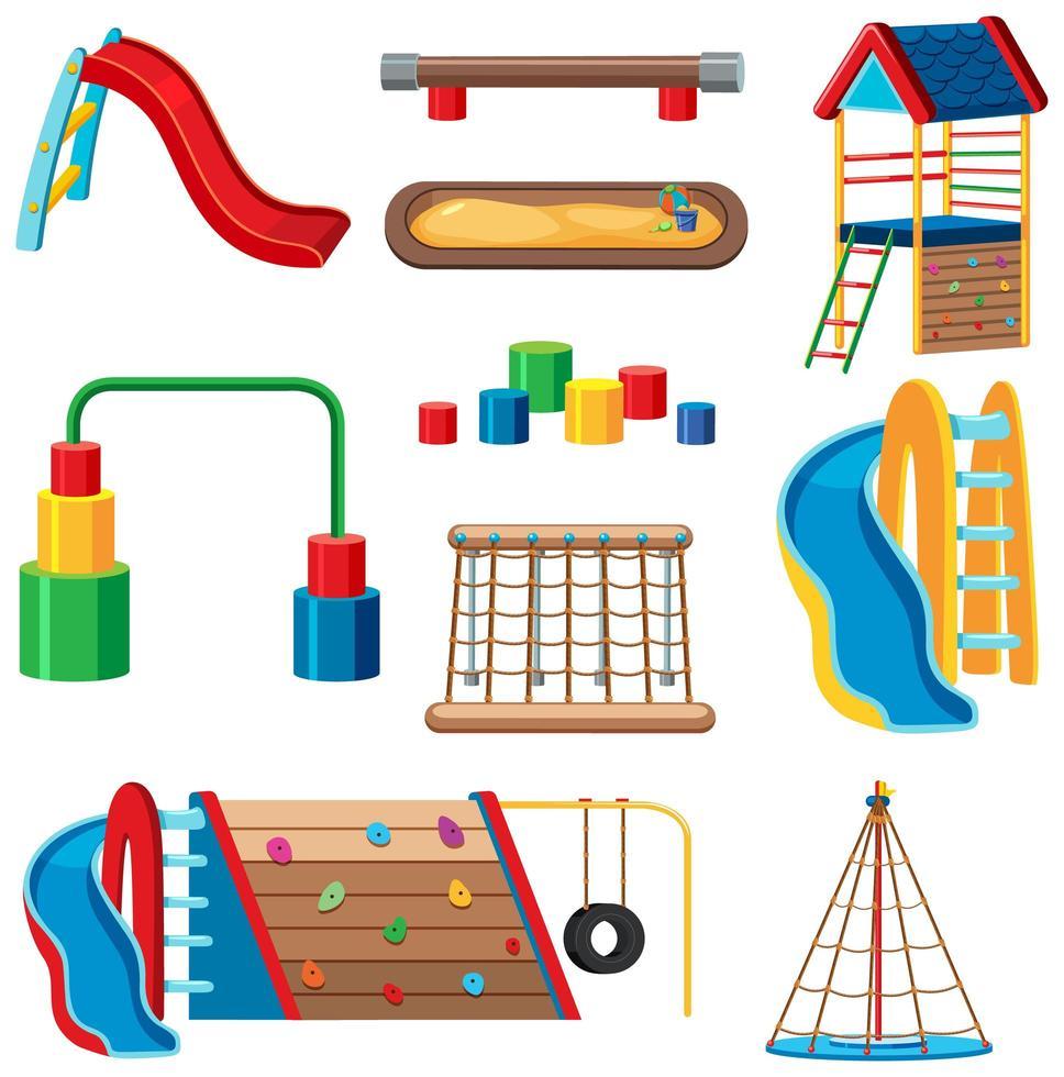 conjunto de playground para crianças no parque isolado vetor