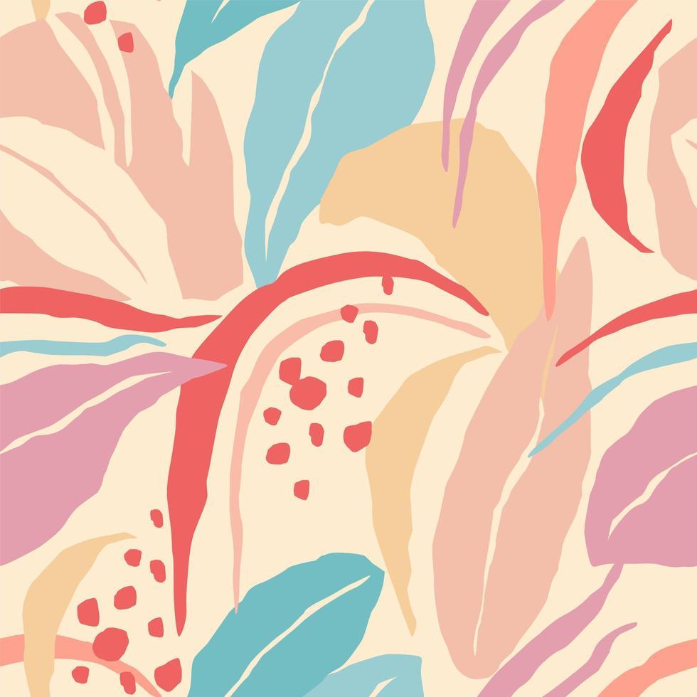 padrão artístico sem costura com folhas abstratas vetor