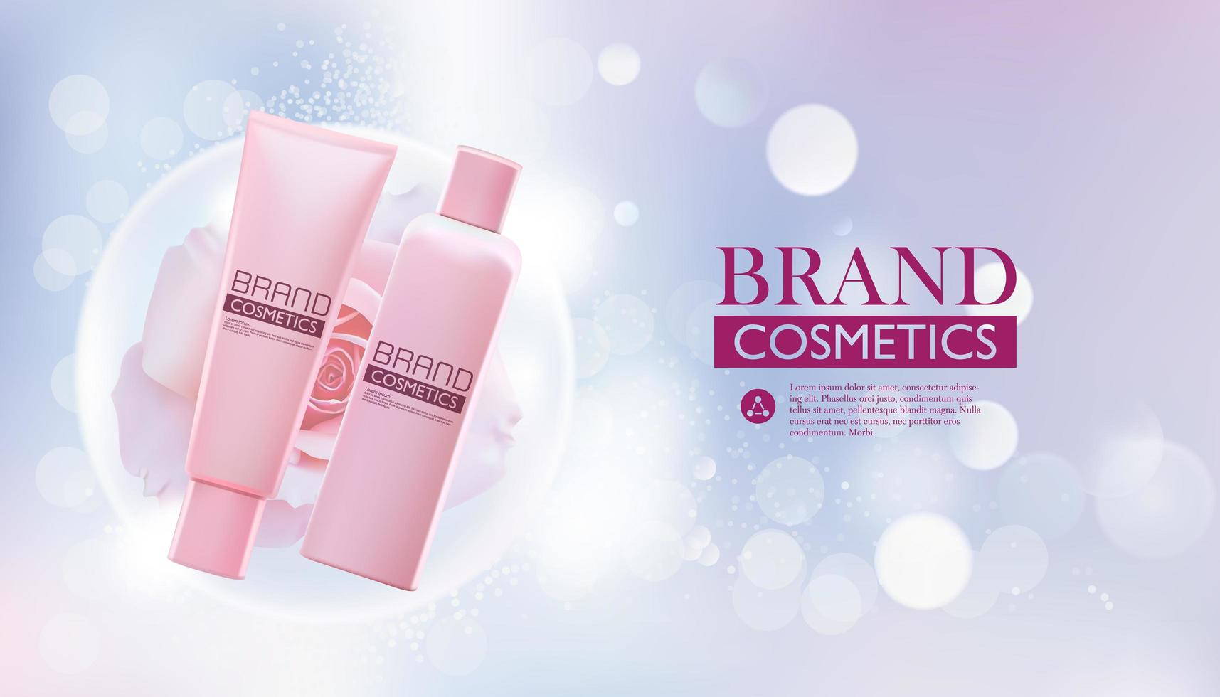 modelo de pacote de beleza cosmética realista vetor