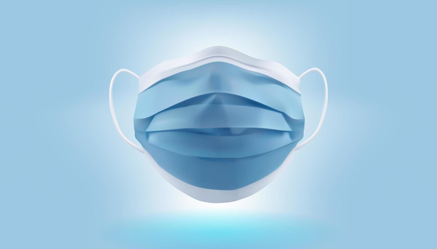 máscara facial médica azul realista vetor