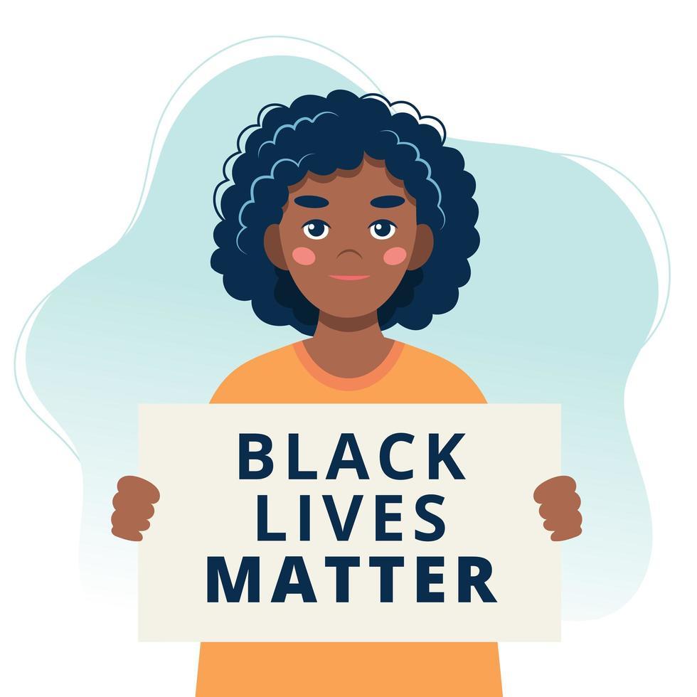 mulher protestante segurando cartaz de vida negra importa vetor