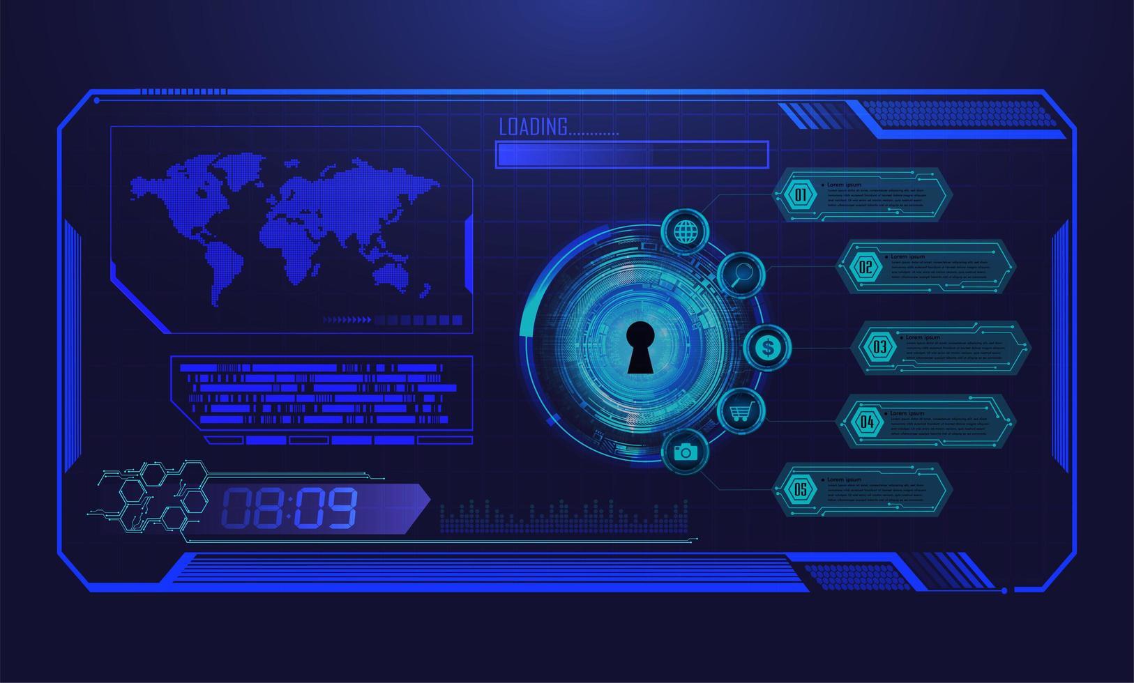 tecnologia futura de placa de circuito binário azul vetor