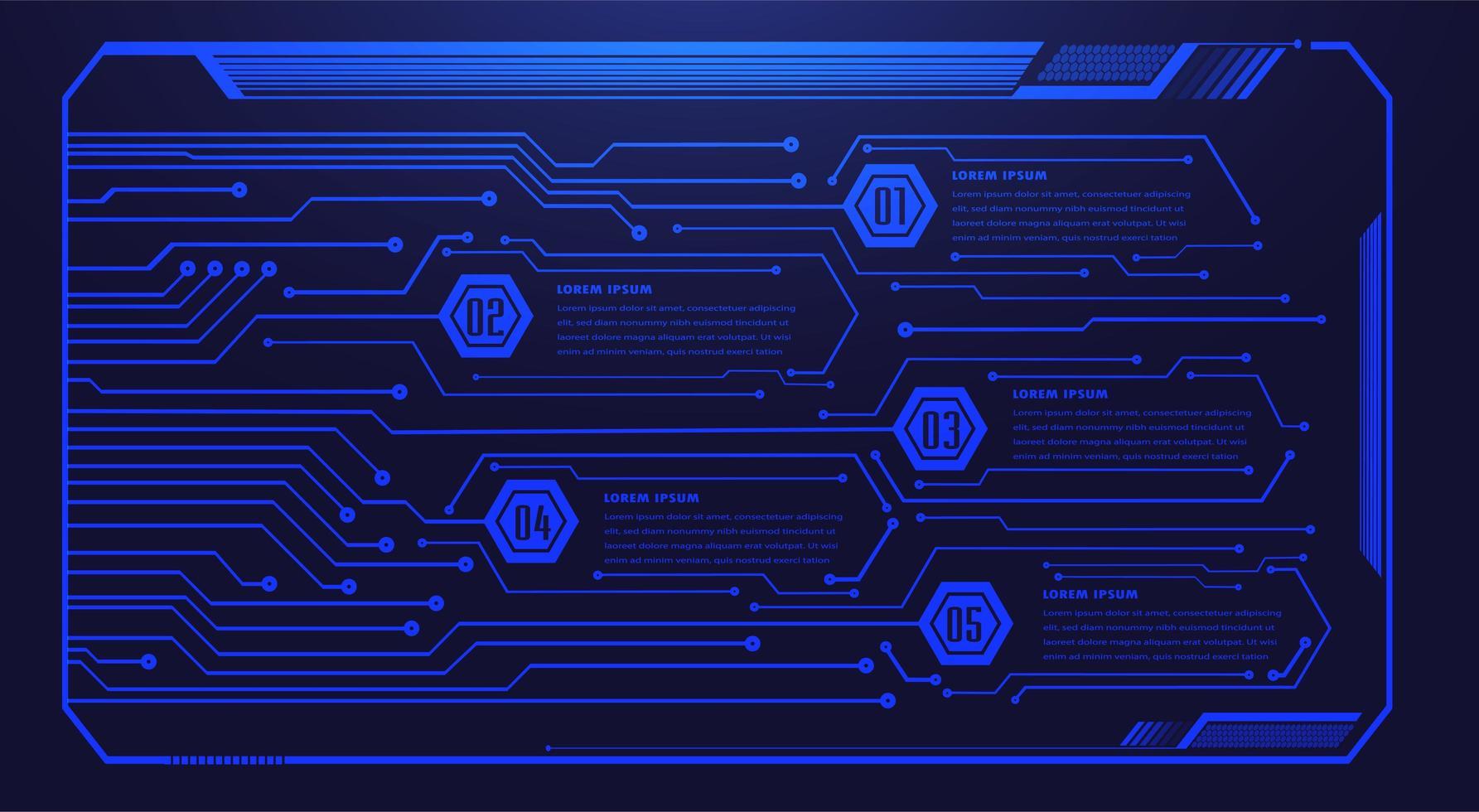 placa de circuito binário tecnologia futura azul hud vetor