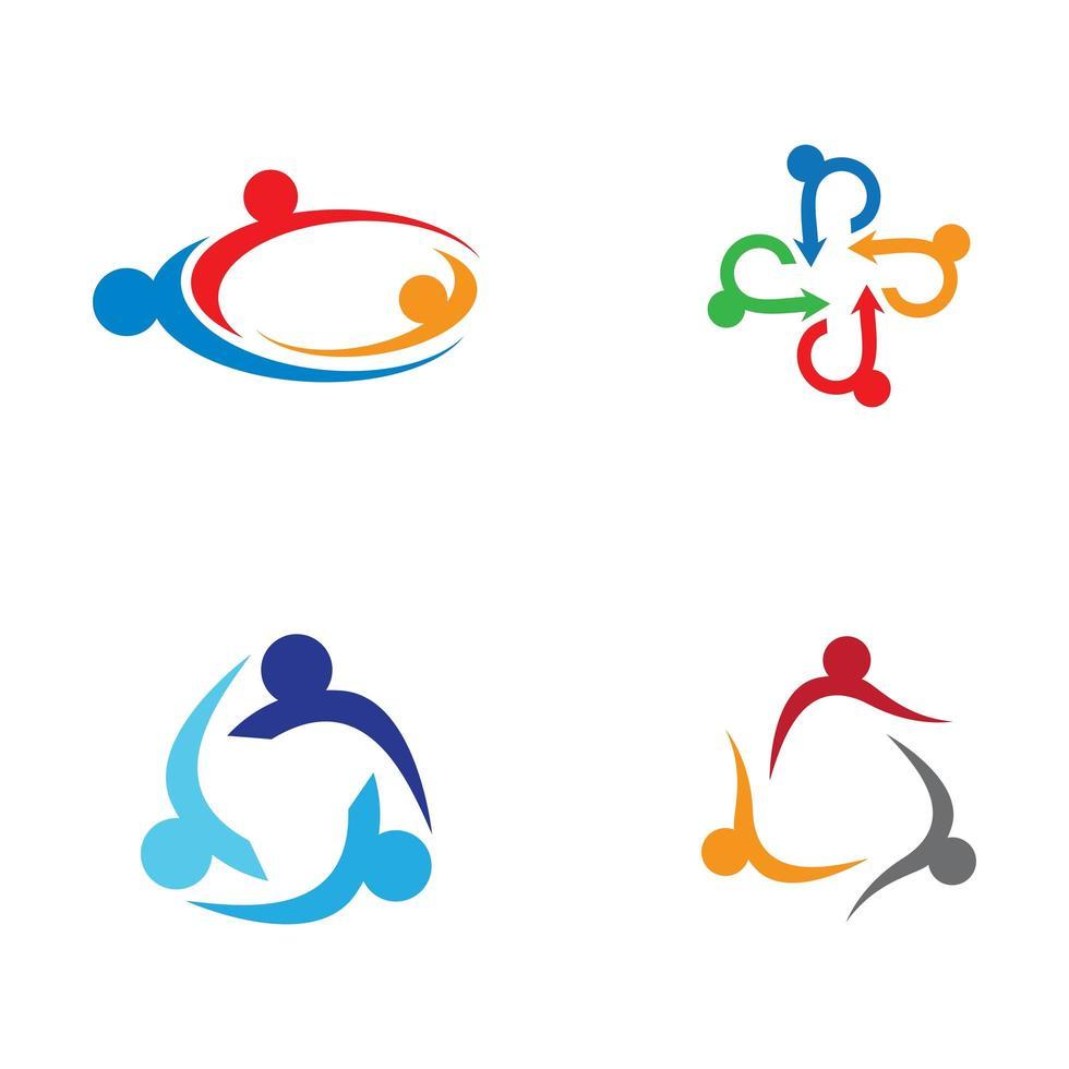 conjunto de logotipo de cuidados comunitários vetor