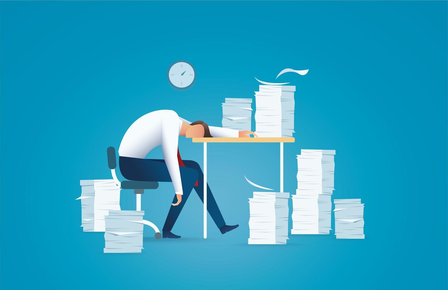 Homem de negócios cansado, conceito sobrecarregado vetor