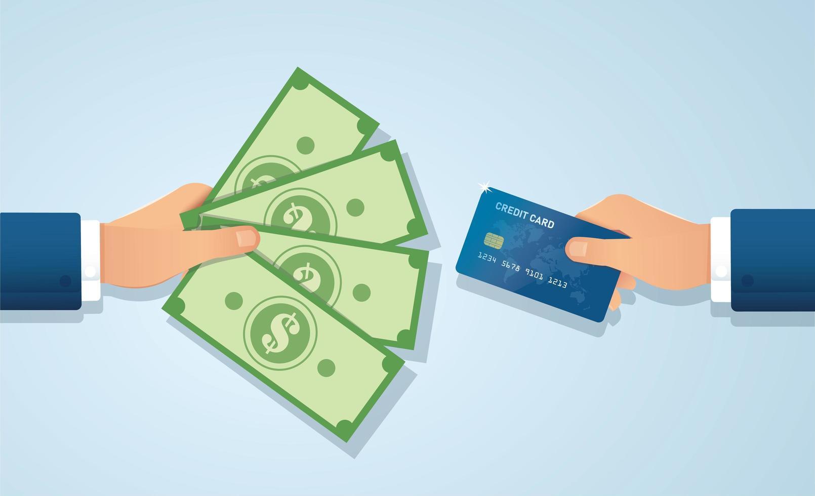 mãos segurando contas de cartão de crédito e dinheiro vetor