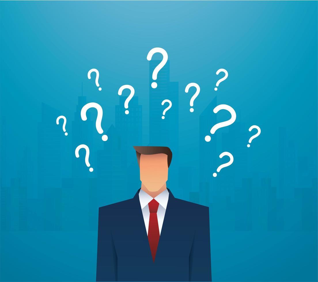 empresário e pontos de interrogação vetor