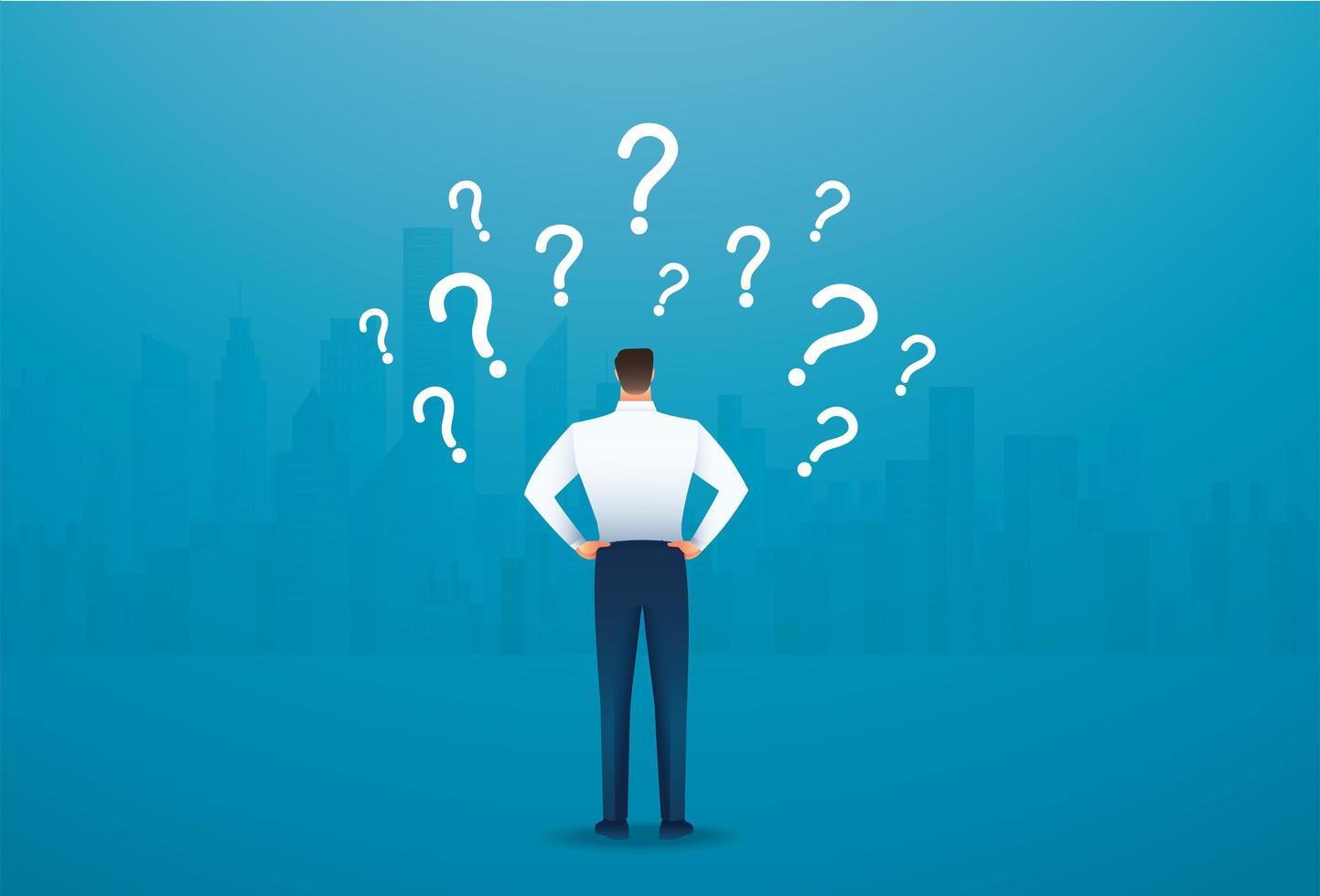 vista traseira do empresário olhando para os pontos de interrogação vetor