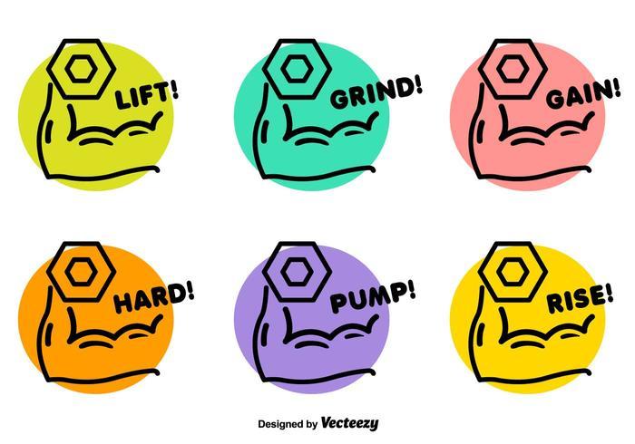 Dumbell levando emblemas vetoriais vetor
