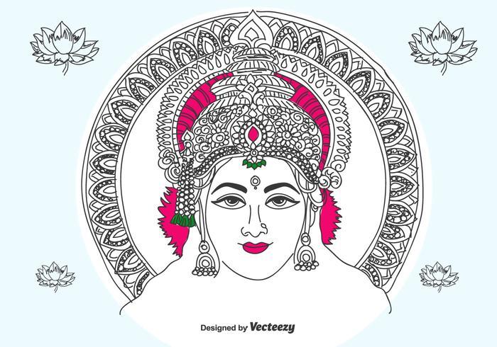 Vetor desenhado à mão Lakshmi