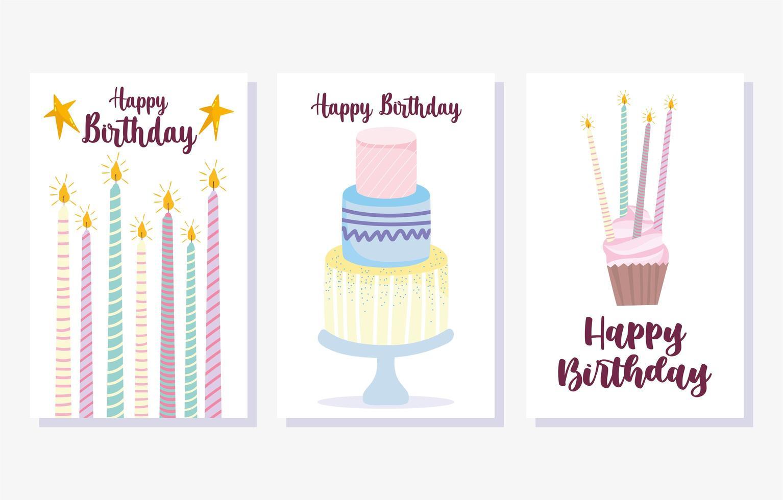 bolo queimando velas conjunto de cartão de cupcake vetor