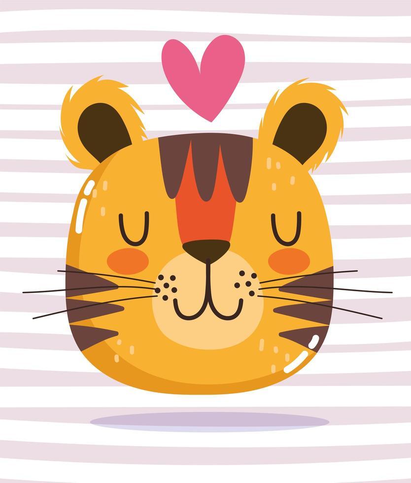 desenho animado animal adorável personagem selvagem coração de tigre vetor