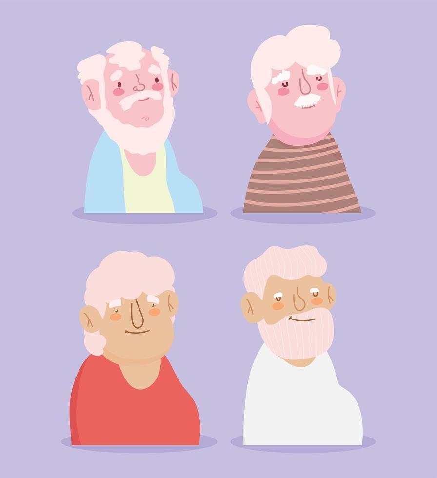 feliz dia dos avós, avôs fofos vetor