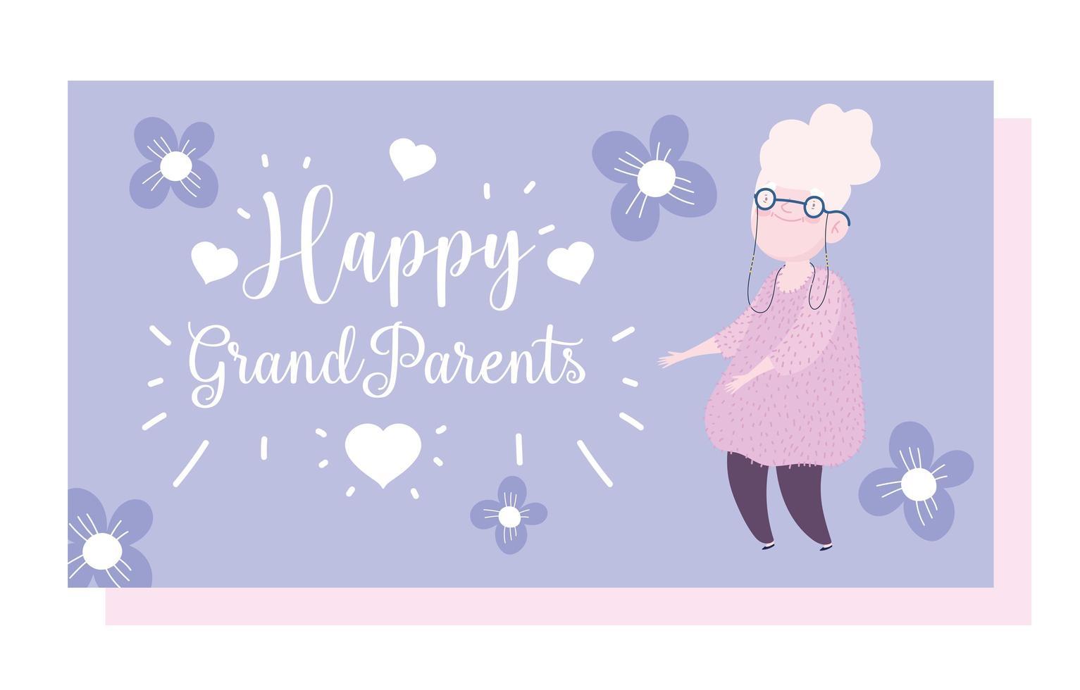 avó idosa com cartão de desenho animado de flores vetor