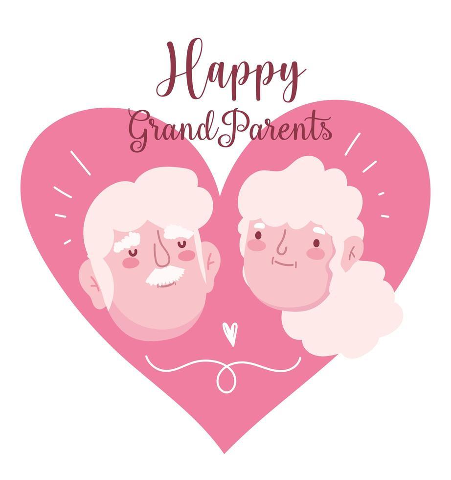 rostos de casal de avós felizes vetor