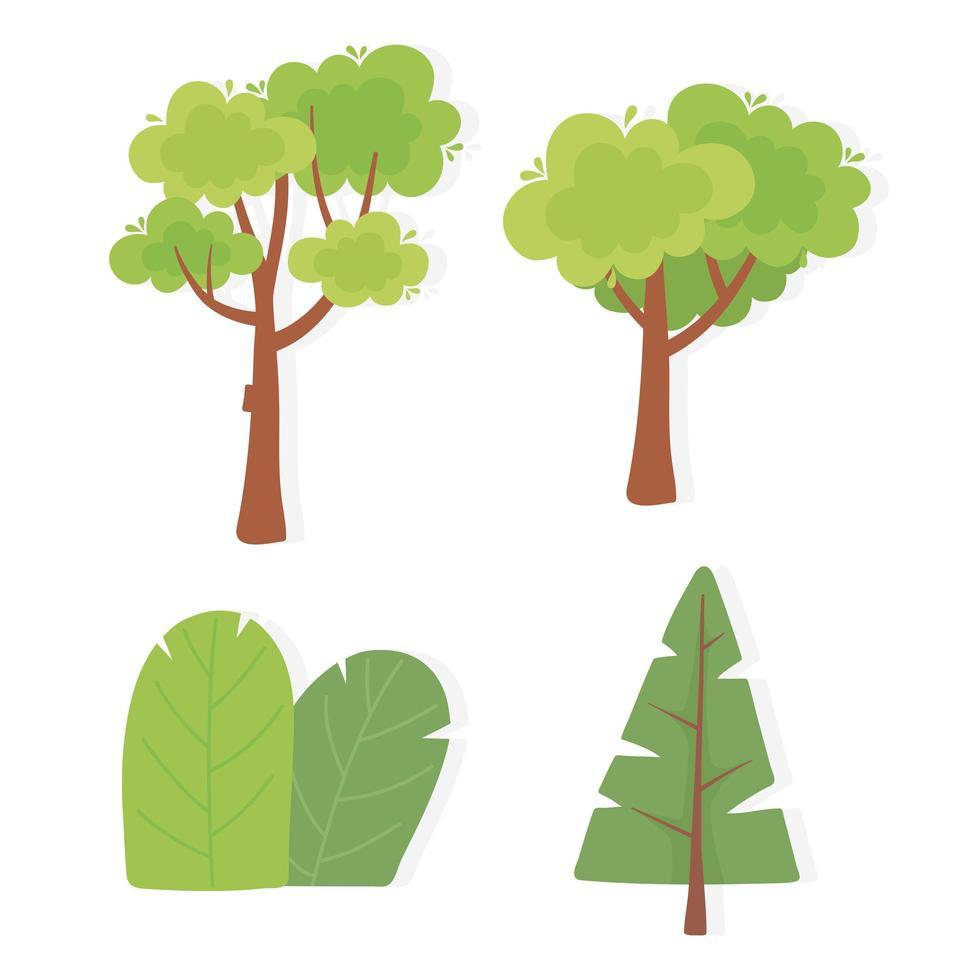 conjunto de diferentes árvores e vegetação vetor