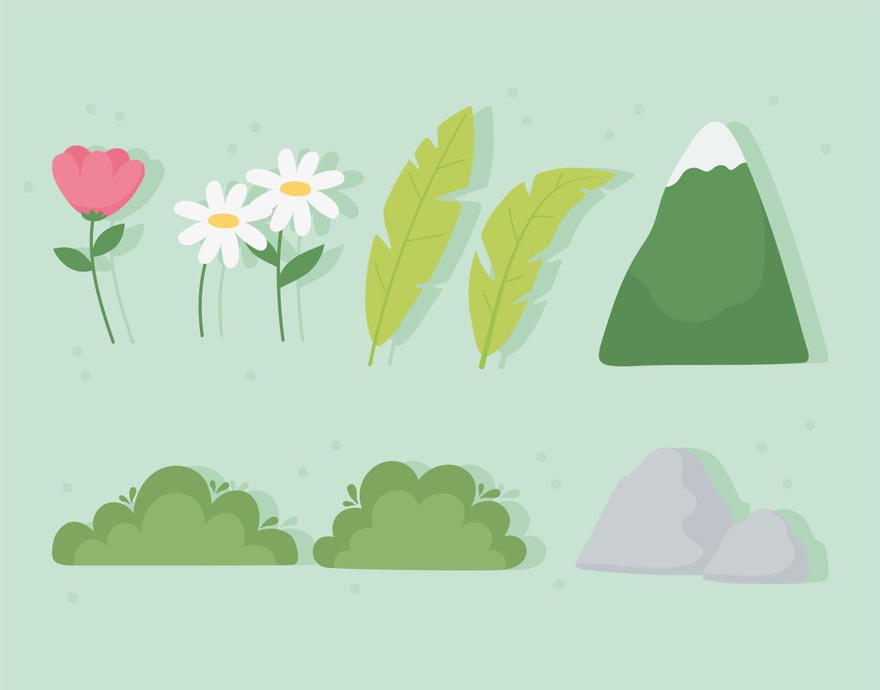 montanha, folhas, flores, arbusto, ícones de pedra vetor
