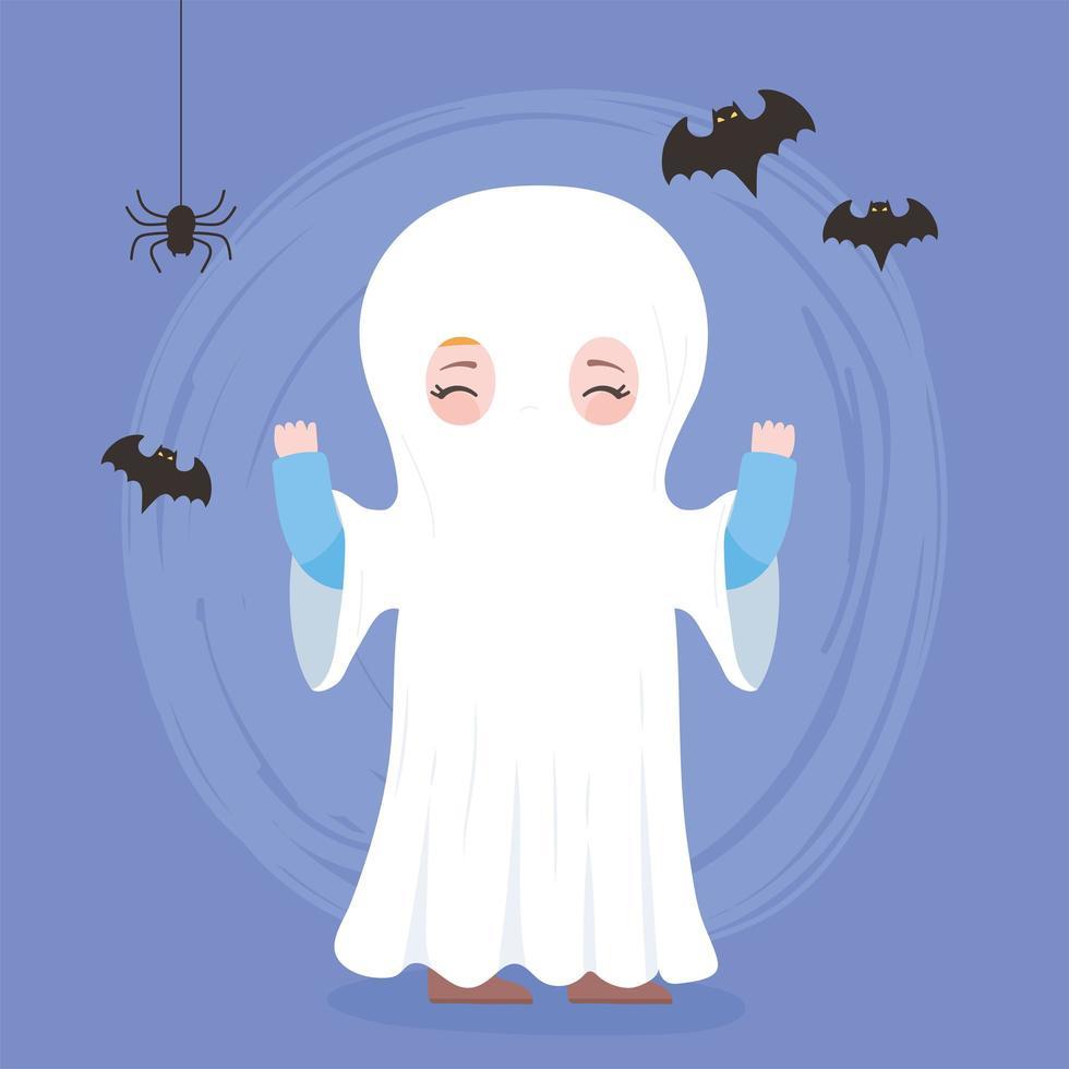 feliz dia das bruxas, personagem com fantasia de fantasma fofo e morcegos vetor
