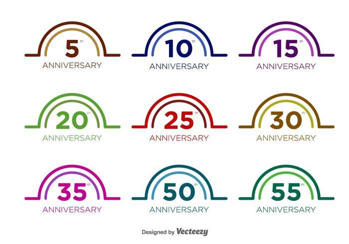 Aniversário Vector Badges