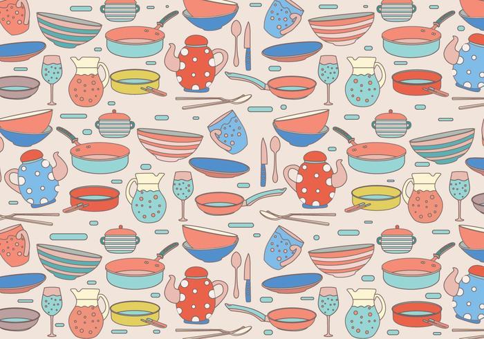 Cocina Padrão Vector colorido