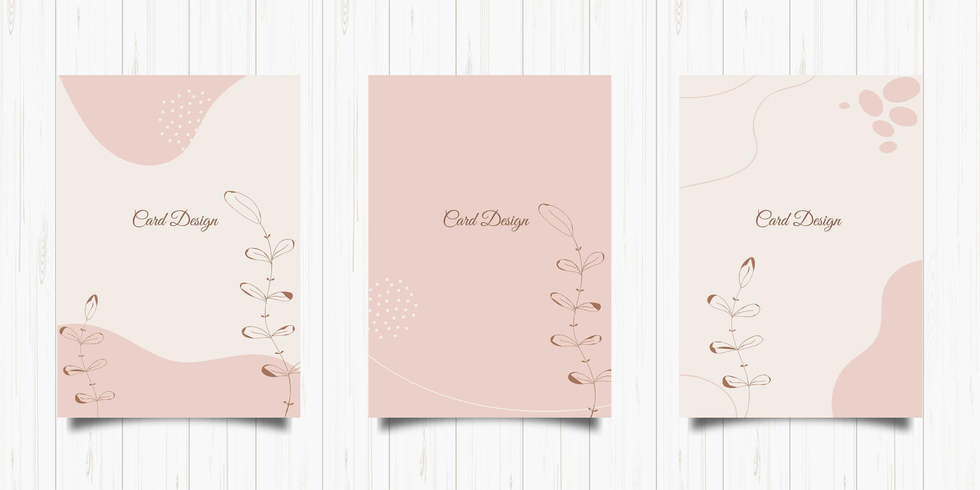 conjunto de cartões elegantes em tons pastel vetor