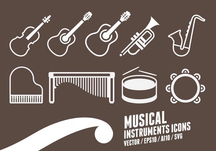 Instrumentos musicais Ícones vetor
