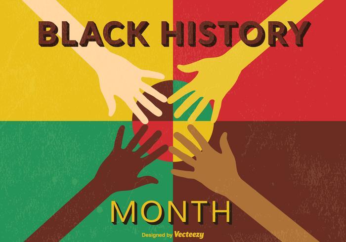Poster retro preto Mês da História Vector