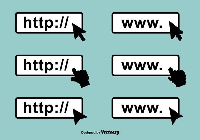 Ícones de vetor de barra de endereços