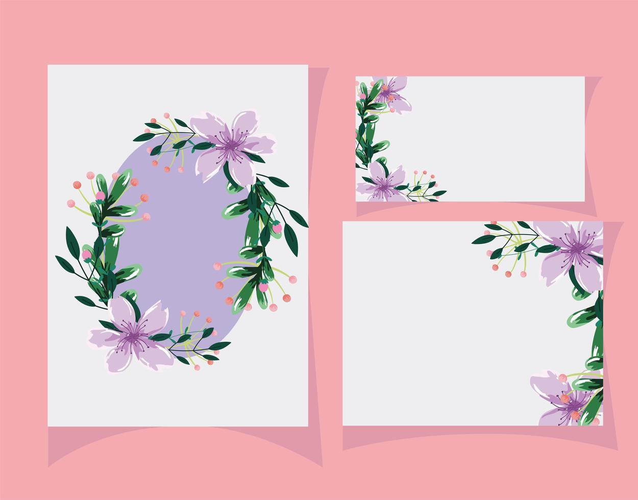 flores e folhas modelo de cartão em aquarela vetor
