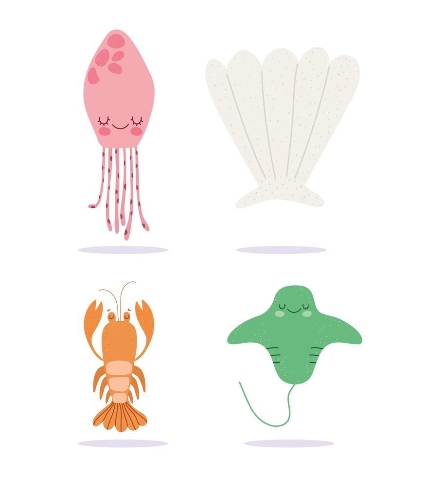 conjunto de criaturas marinhas de desenho animado vetor