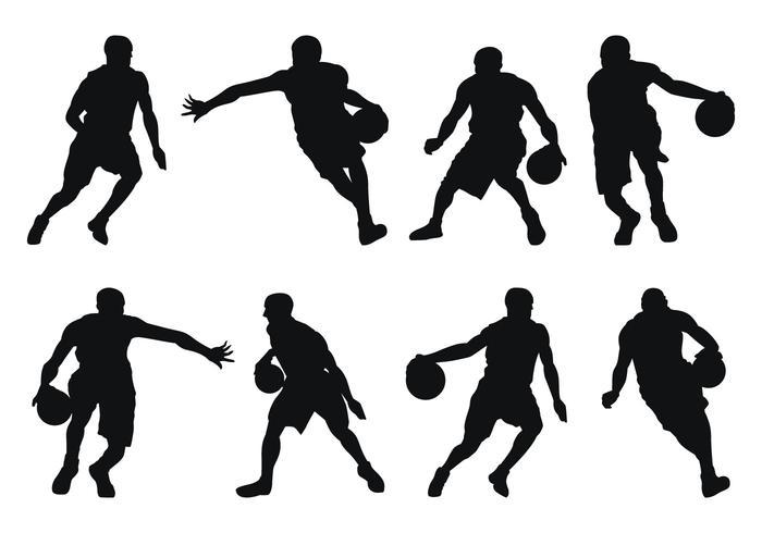 Basquetebol mostra em silhueta do jogador vetor