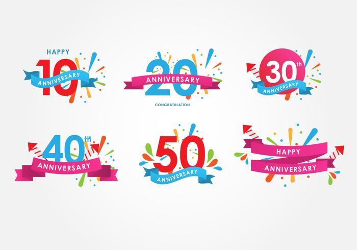 Conjunto de vetores de cartaz de aniversários