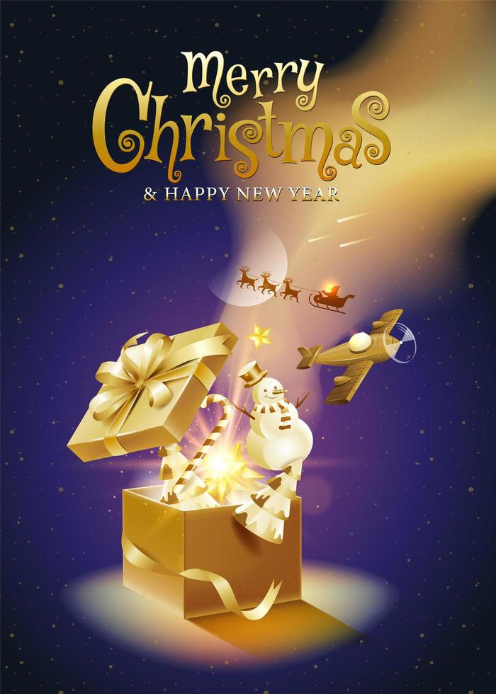 pôster de fantasia dourada de natal e ano novo vetor
