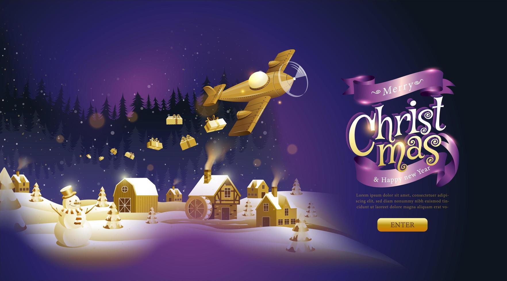 página de destino roxa e dourada de natal e ano novo vetor