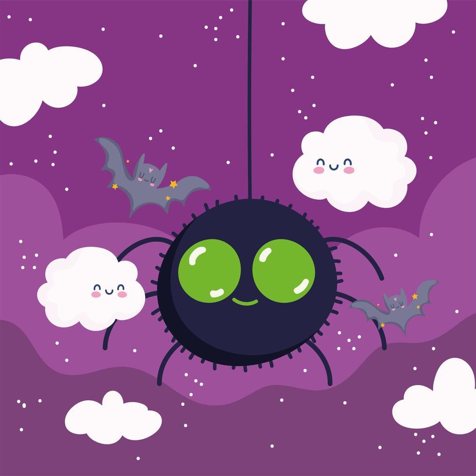 feliz dia das bruxas, aranha, nuvens e morcegos vetor