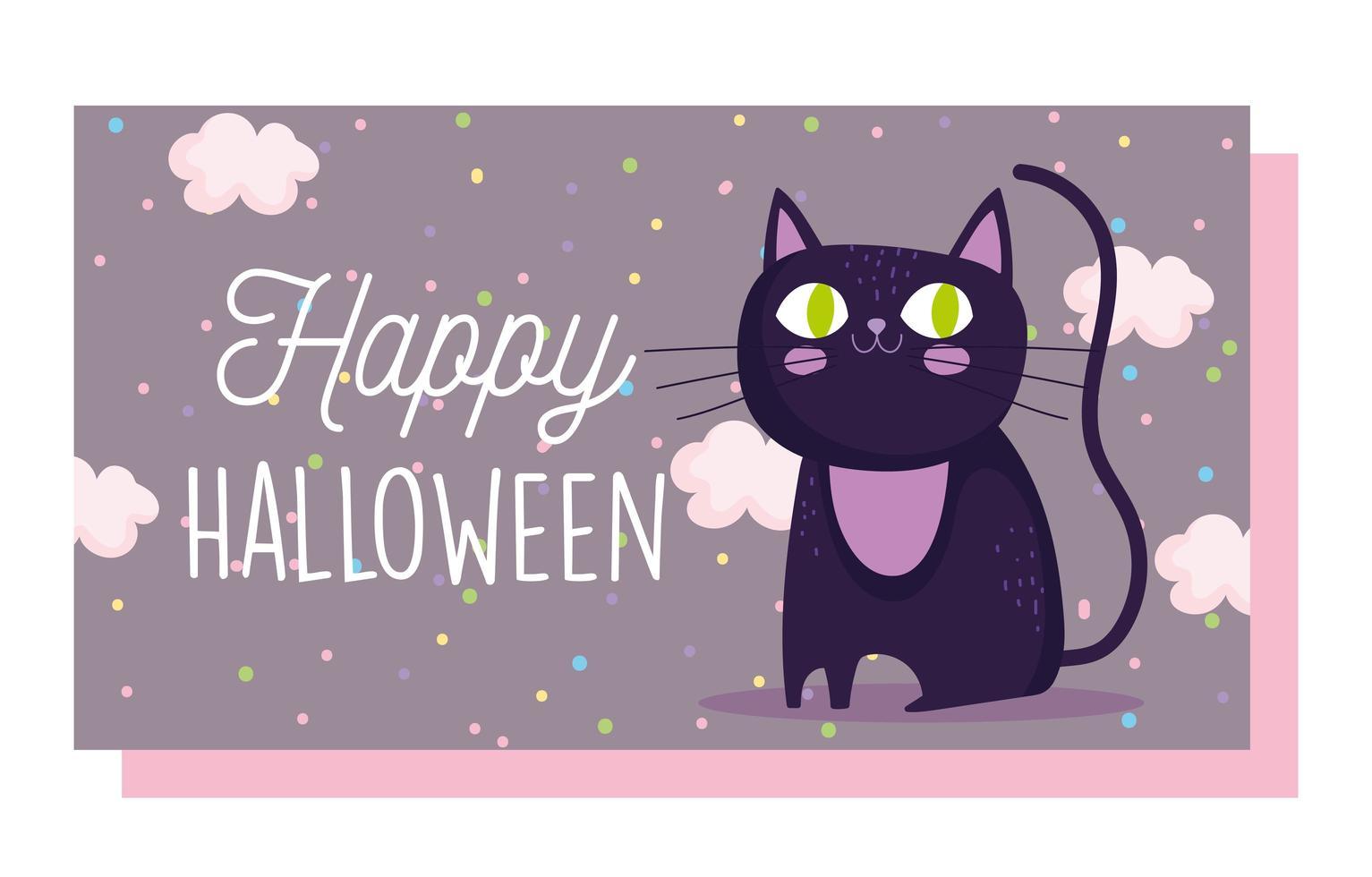 feliz dia das bruxas, desenho bonito de gato preto vetor