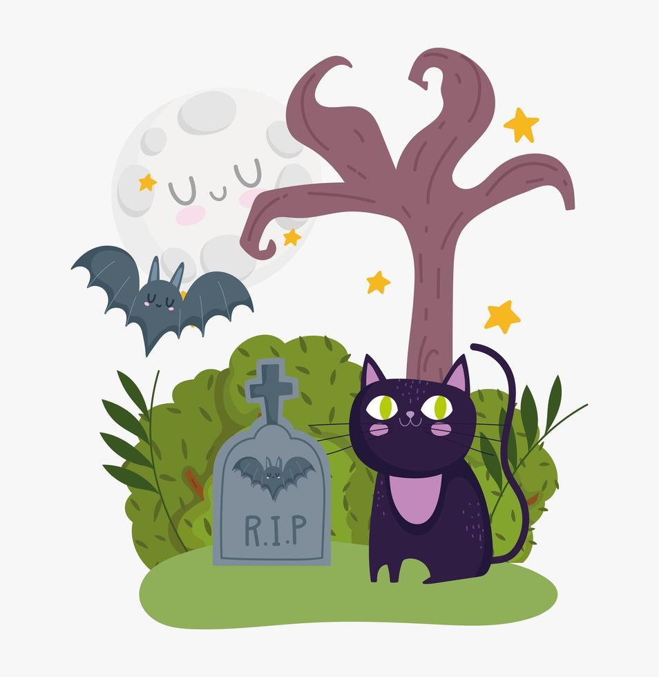 feliz dia das bruxas, gato preto, morcego, lápide e lua vetor