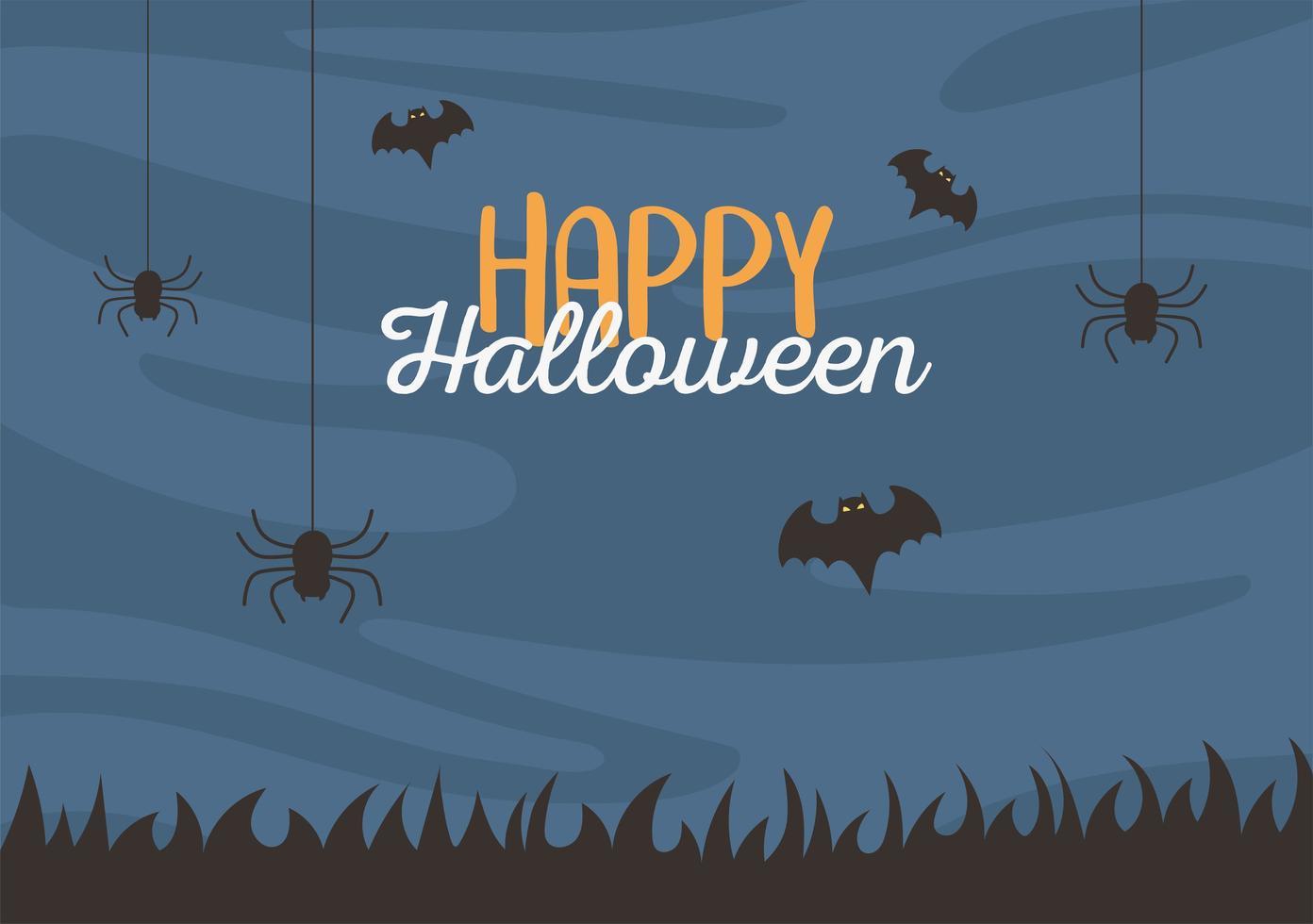 feliz dia das bruxas, aranhas e morcegos pendurados vetor