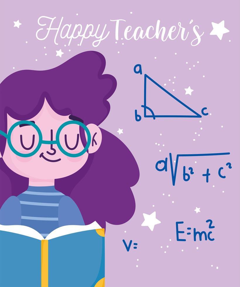feliz dia dos professores, aluno com o aprendizado da lição do livro vetor