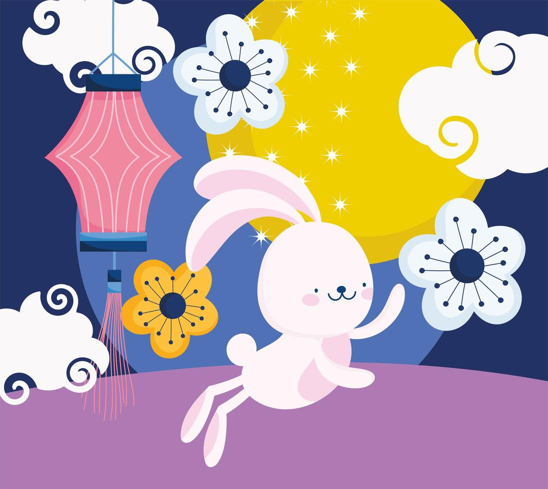 festival do meio do outono com coelho, lanterna chinesa, flores vetor
