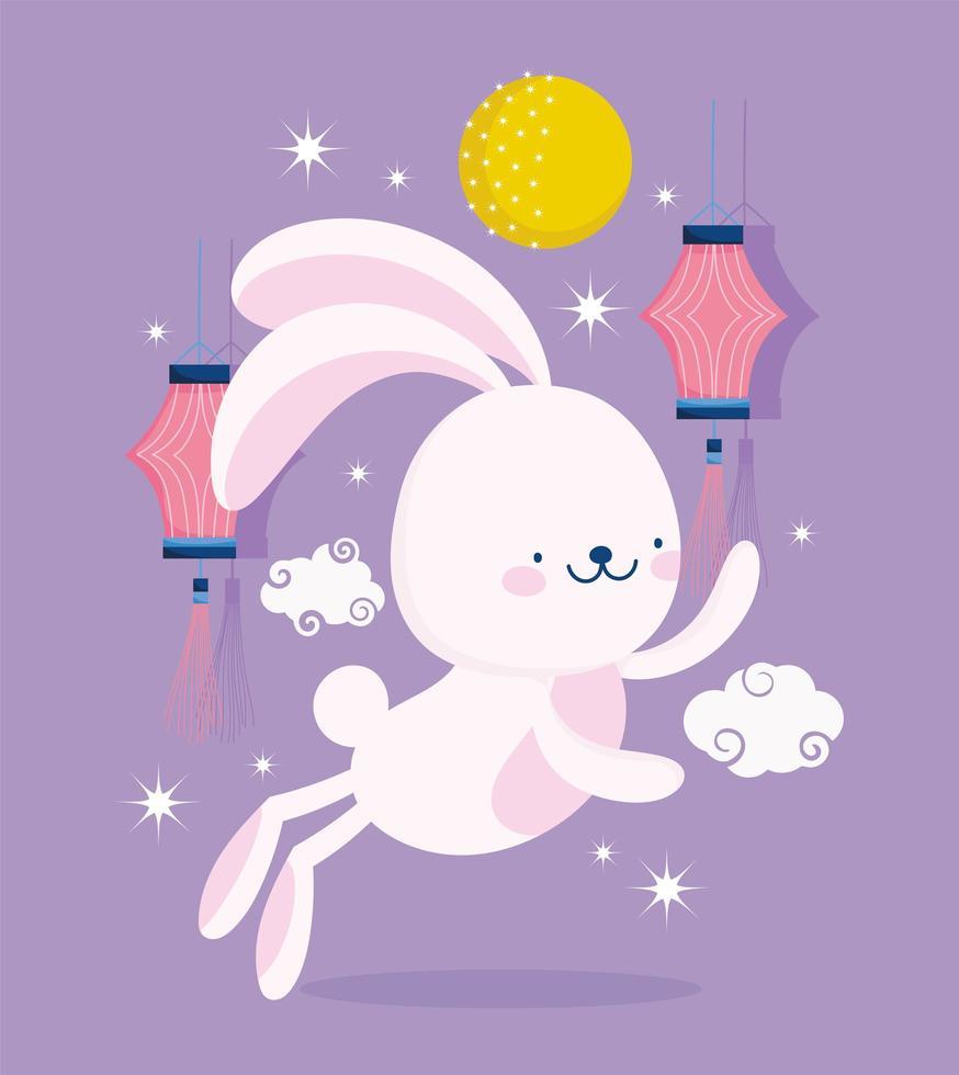 feliz festival de meados de outono chinês lanterna e coelho vetor