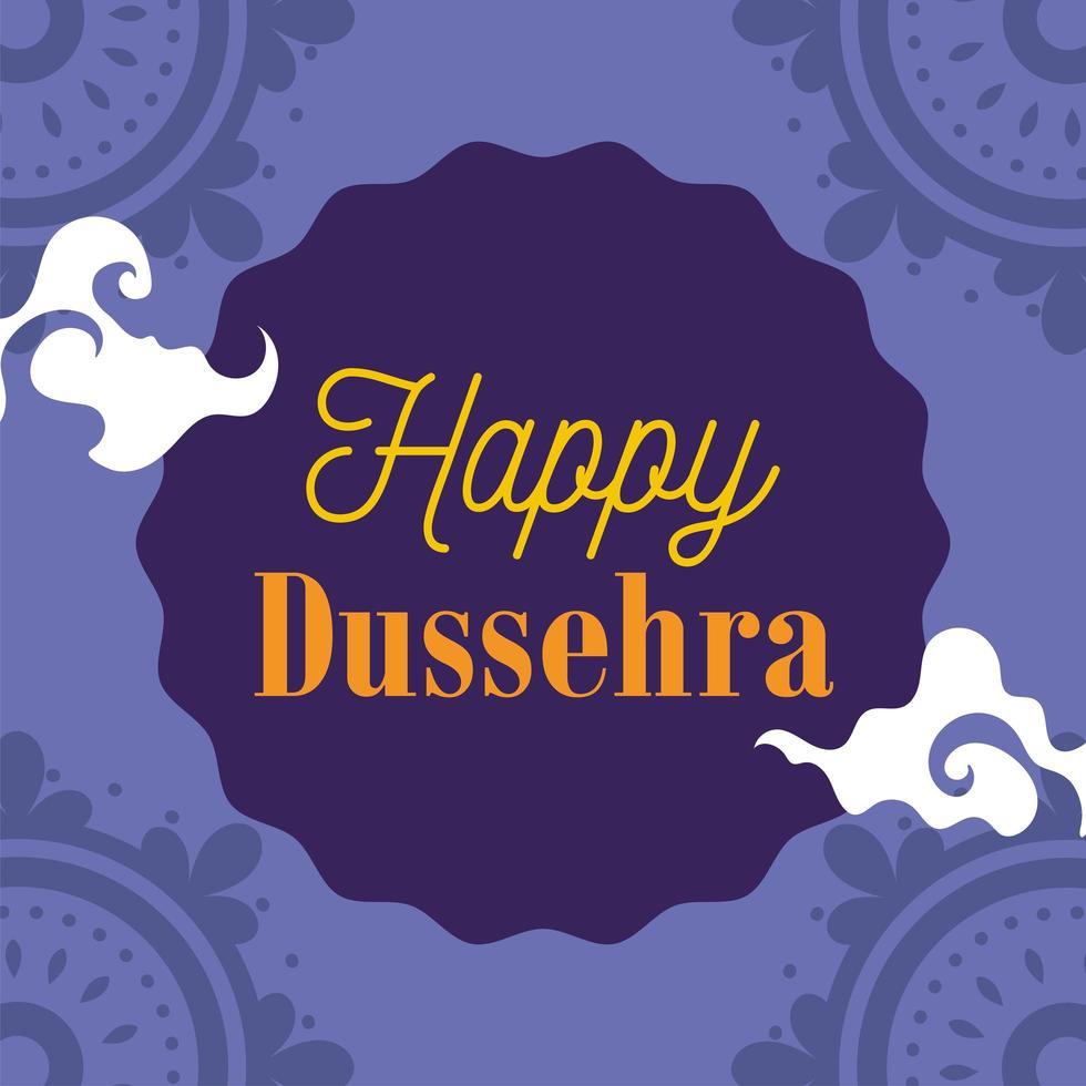 feliz festival dussehra da índia tradicional cartão religioso vetor