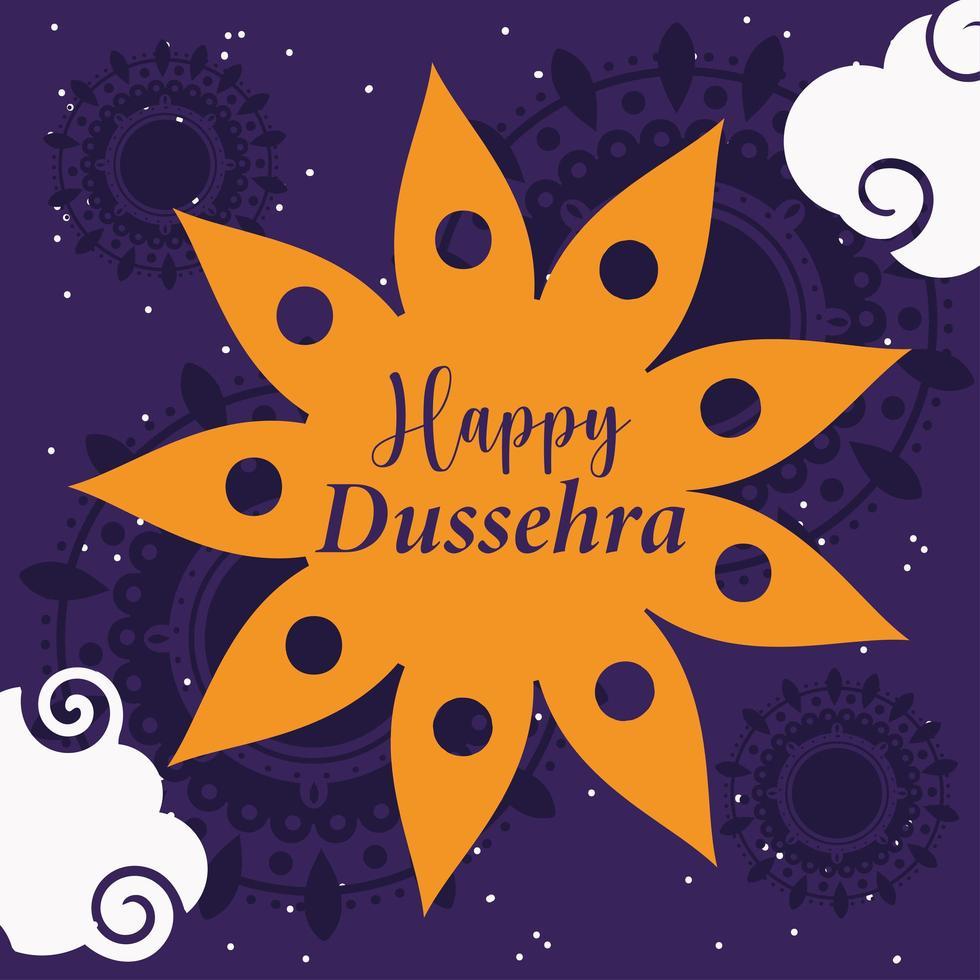 feliz festival dussehra da índia cartão floral tradicional vetor