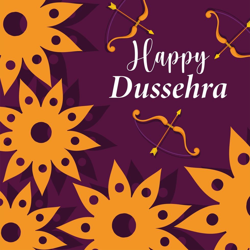 feliz festival dussehra de flores, arcos e flechas da índia vetor