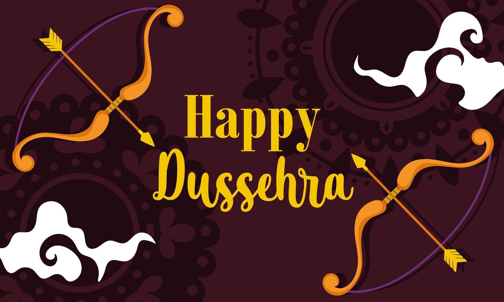 feliz festival dussehra da índia arco flecha banner vetor